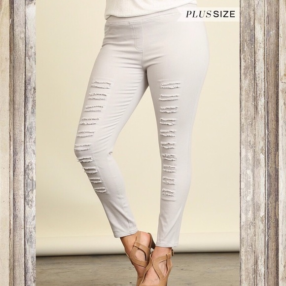 4ec70c66725a9 Umgee Pants | Plus Size Ivory High Waisted Distressed Jeggings ...